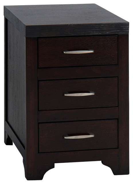 Jofran Vienna Chairside Table With 3 Drawers In Espresso