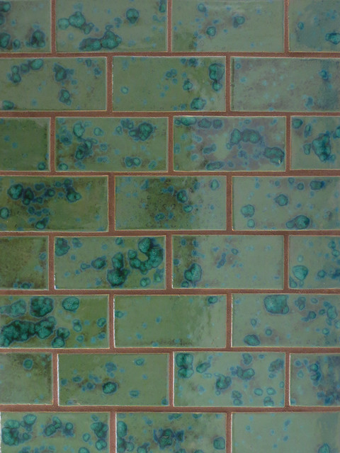 "2""x4"" Subway Tile in Peacock Green eclectic-tile"
