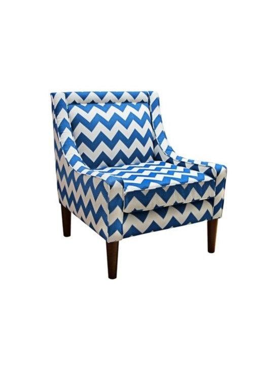Modern Blue Chevron Marine 33 1/2-Inch-H Swoop Accent Chair -