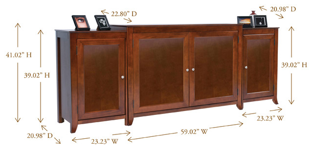 Berkeley tv lift cabinet with side cabinets for flat for Tv lift consoles for flat screens