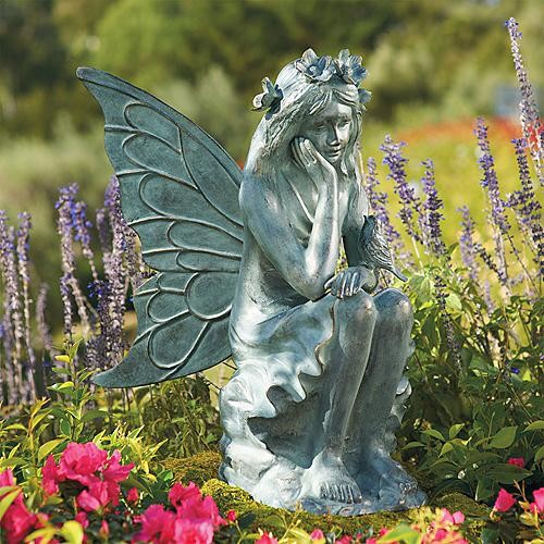 Garden Blossoms Fairy Statue - Frontgate traditional-garden-statues-and-yard-art