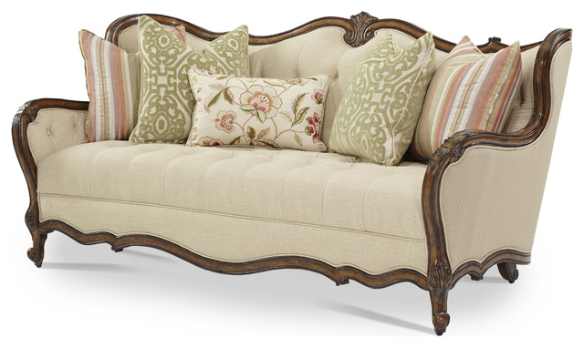Lavelle Melange Wood Trim Tufted Sofa Traditional Sofas