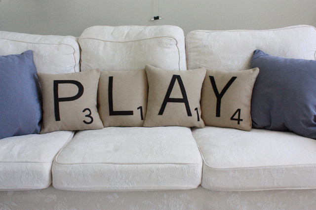 PLAY Scrabble Letter Pillows contemporary pillows