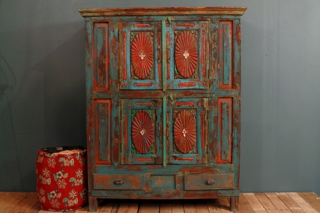 Antique Distressed Multi-color Blue Red Indian Door Cupboard Cabinet