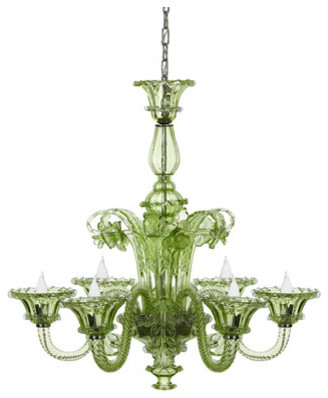 Green Glass Chandelier eclectic chandeliers