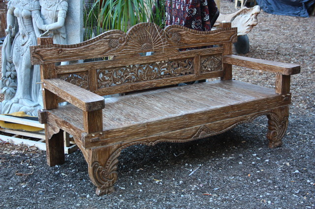 Hand Carved Teak Bench From Bali Eclectic Indoor