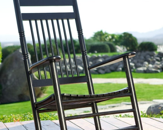 Dixie Seating - Standard Slat Porch Rocking Chair in Black Fi - Designed for both indoor or outdoor use, this classic rocking chair will be an inviting choice for any front or back porch. Ideal for enjoying a glass of lemonade on a warm summer day. Classic indoor and outdoor standard adult slat porch rocking chair. Made of solid ash hardwood. Made in the USA. Ready to assemble format. Minimum assembly required. Underside is unsanded. 25 in. W x 19 in. D x 42 in H