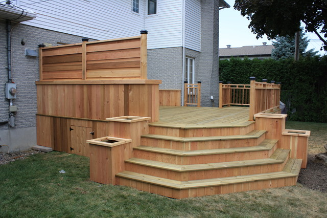 CEDAR&WOOD PATIO DECK Modern Deck montreal by