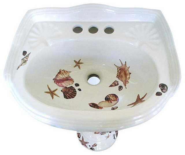 Seashell Pedestal Sink : Seashells Pedestal Hand Painted Sink - Tropical - Bathroom Sinks - las ...