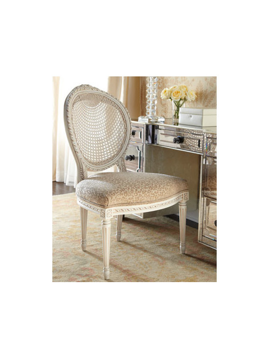 """Jeff Zimmerman Collection by Key City - Jeff Zimmerman Collection by Key City """"Leona"""" Chair - Exquisite side chair features an array of appealing details such as a cane back, cheetah-print seating, and intricate carvings on the frame. Handcrafted of beechwood with a """"coconut"""" finish. Polyester upholstery. 26""""W x 29""""D x 40""""T. Made in the USA...."""