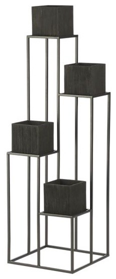 Quadrant Plant Stand With Four Planters Modern Indoor