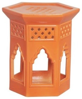 Hex Moroccan Design Garden Stool eclectic-accent-and-garden-stools
