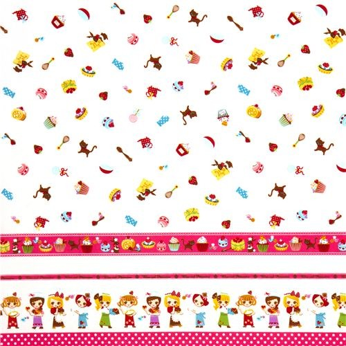 Cute girls baker fabric with sweets kawaii kids decor for Cute childrens fabric
