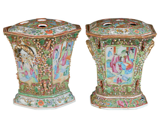 Current Inventory for Purchase - Pair of 19th C. Chinese Bough Pots