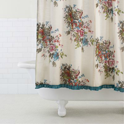 watercolor floral shower curtain contemporary shower