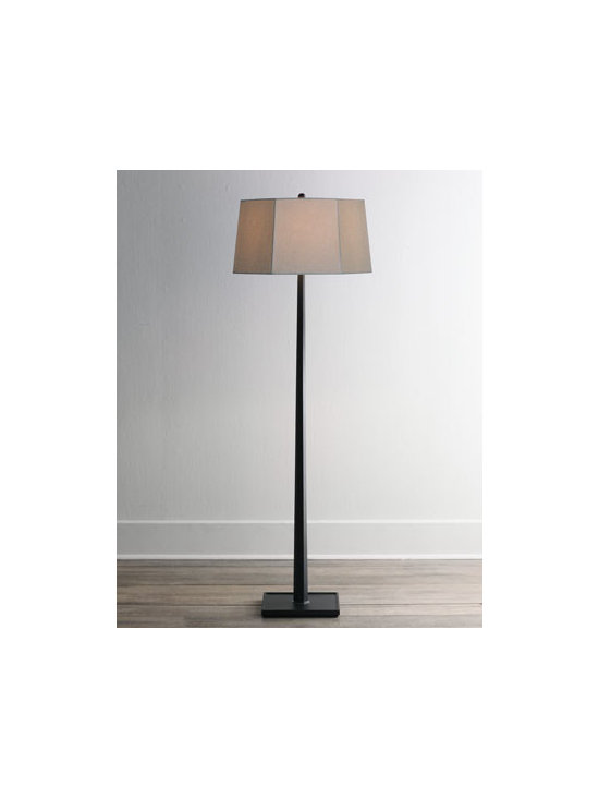 Horchow - Ebony Wooden Floor Lamp - Tall, sleek, and slender, this floor lamp is ideal for slipping into awkward corners, shining upon a sofa, or brightening an entrance hall. We especially like the unexpectedness of its hexagonal shade and the sharp contrast between the dark wood and the...