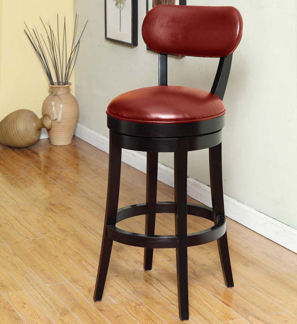Red Leather Counter Height Stools Roxy 26in Swivel