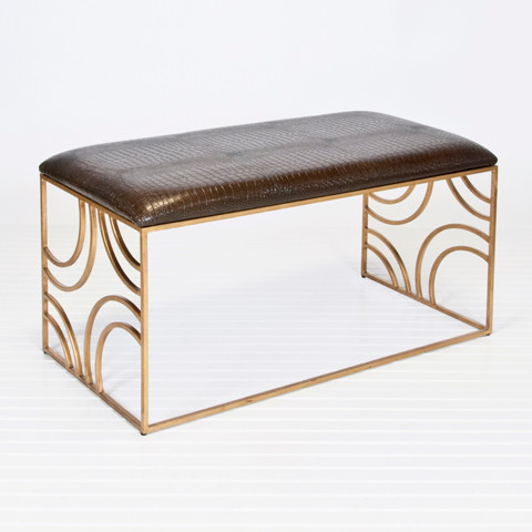 Worlds Away Zoe Gold Leafed Bench w. Brown Faux Croc Upholstery contemporary-chairs