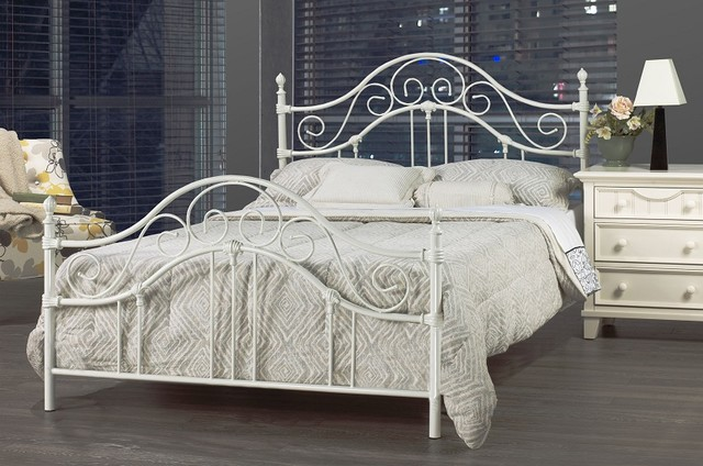 Bella White Wrought Iron Queen Bed Frame Contemporary Beds