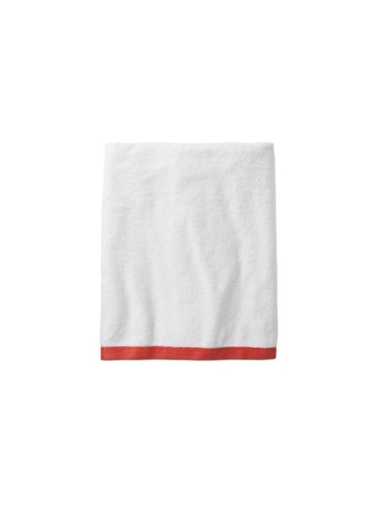 Serena & Lily - Coral Border Frame Bath Towel - Woven in Portugal from supremely soft cotton, these towels are lofty, absorbent, quick to dry, and won't fade, fray or wear out. We love how the substantial stripe pops against the pure white cotton terry. (The washcloth was kept simple a perfect square of all white.)