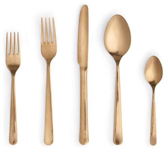 Almoco flatware 5 piece setting copper modern flatware and silverware sets by design - Almoco flatware ...