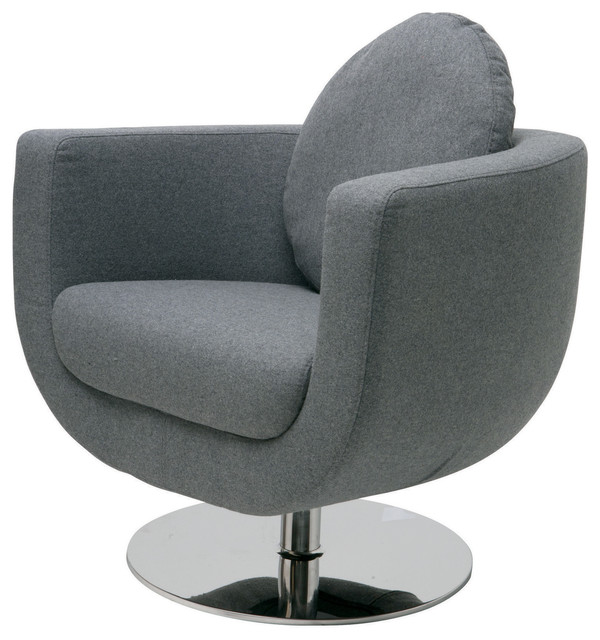 simone swivel occasional chair in light grey wool by nuevo