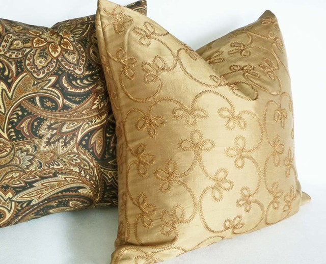 Throw Pillows Gif : Gold Silk Pillow - Traditional - Decorative Pillows - vancouver - by PillowThrowDecor