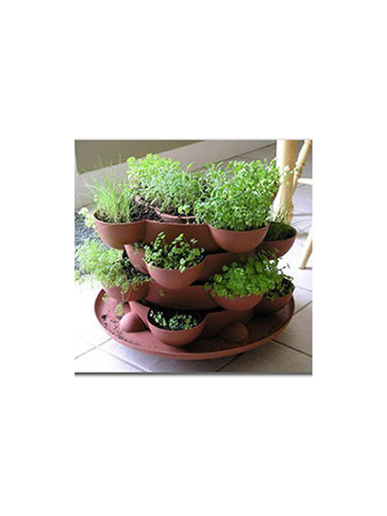 Indoor Herb Garden Stackable Planter - Terracotta - Incredible indoor / outdoor stackable garden planter with a wheeled base. Just stack & grow. Grow herbs, flowers, house plants, cactus garden, more. Made in the USA. Durable, UV resistant material. 5 colors.