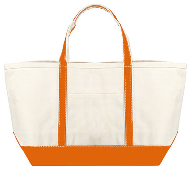 Orange Heavy Duty Cotton Canvas Boat Tote Large Bag modern storage and organization