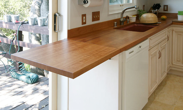 Cherry Wood Countertop With Drainboard By Grothouse