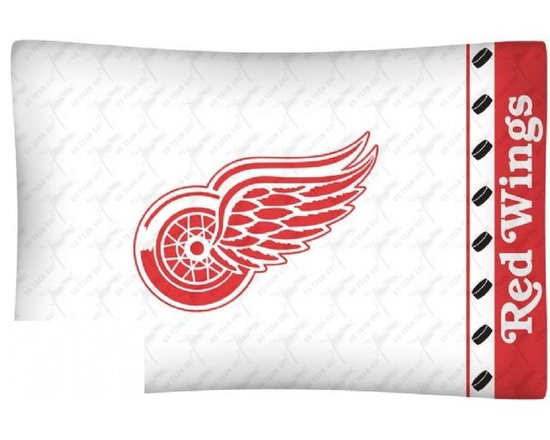 Sports Coverage - NHL Detroit Red Wings Microfiber Pillow Case - Officially licensed NHL Detroit Red Wings Microfiber coordinating pillow case to match Comforters, Pillow sham, Bedskirts and Draperies. The Pillowcase only has a white-on-white print and the officially licensed team name and logo printed in team colors. Made from 92 gsm microfiber for extra stability and soothing texture and is 100% Polyester. Wrinkle resistant and stain-resistant. Get your NHL Pillow Case Today.  Today.   Features:  -  92 gsm Microfiber,   - 100% Polyester,    - Machine wash in cold water with light colors,    -  Use gentle cycle and no bleach,   -  Tumble-dry,   - Do not iron,   - Pillow case Standard - 21 x 30,