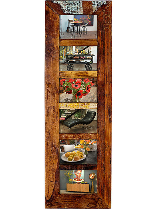 6 Photo Frame - Transform that shoe box full of old black and white family photos into a stunning wall display with this antiqued 6-Photo Frame. The rich brown finish is distressed and stained, highlighting the beautiful wood grain. Hang it vertically, alone or grouped, this frame is a wonderful way to create a striking display in your hallway or family room.