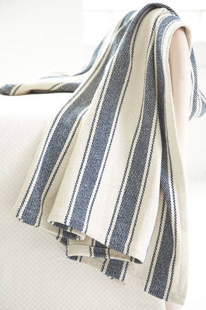 Blue Awning Stripe Woven Cotton Throw traditional-throws