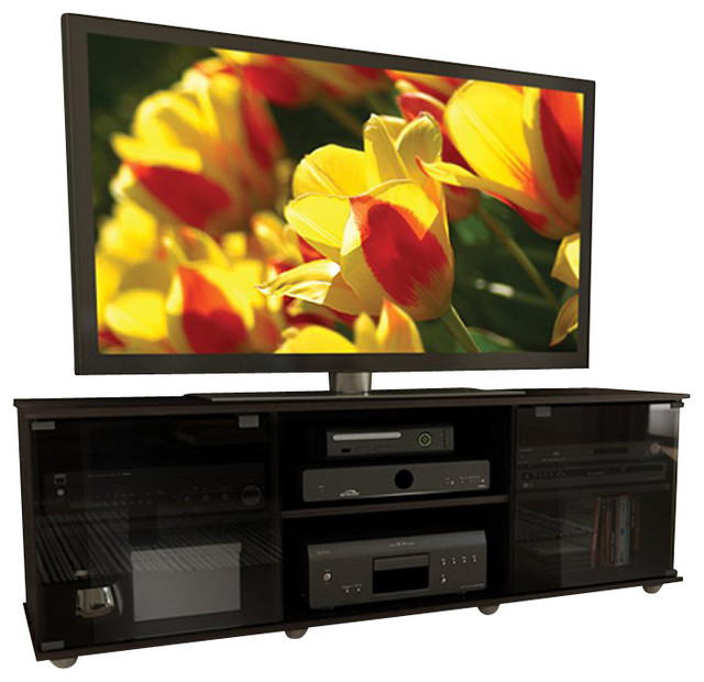 "Sonax  Fiji 60"" TV Component Bench in Ravenwood Black modern-media-storage"