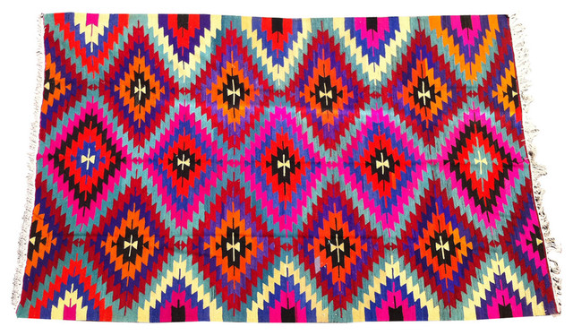 Multi Colored Geometric Rug Eclectic Rugs By Shoppe