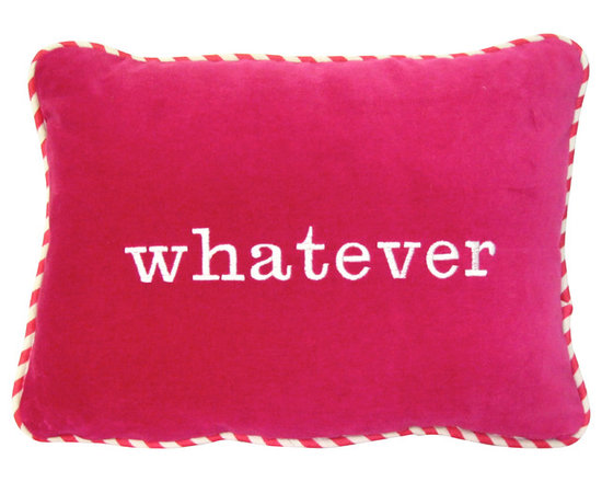 """Therese Marie Designs - Pink Velvet """"Whatever"""" Pillow Cover - Pink velvet """"Whatever"""" pillow cover. This cheeky pillow, with its embroidered saying, is a fun way to add a bold accent to your sofa or bed. Adding the striped contrast cord ties the look together perfectly. Whatever, indeed!!"""