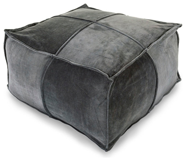 Cotton Velvet Pouf - Charcoal - Transitional - Floor Pillows And Poufs - by Bliss Home & Design