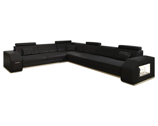 Scene Furniture - Skyline Sofa Sectional - This cool and ultra modern sectional sofa is designed with a large layout that accommodates up to 7 guests. The side storage cabinet & side shelf with lighting add usefulness to the beauty.