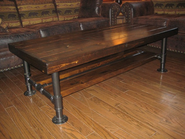 Reclaimed Wood amp Pipe Coffee Table With Burnt