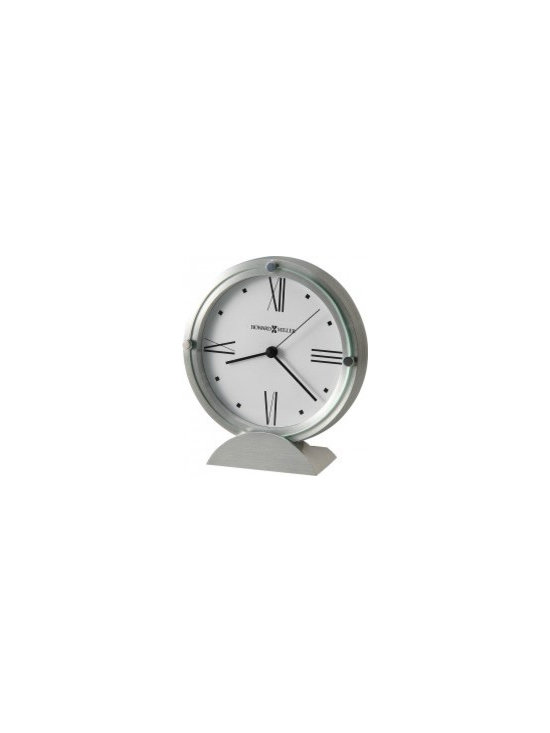 Modern Desk Clocks - Brushed aluminum clock features a flat glass crystal accented with 3 polished silver-tone buttons and set in a brushed and polished aluminum semi-circle base. - White dial with black Roman numerals and square hour markers. - Quartz, movement