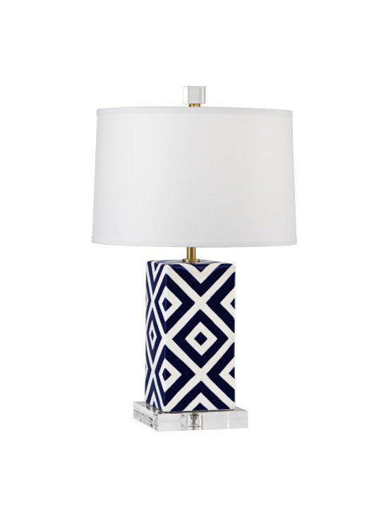 Robert Abbey - Mary Mcdonald Santorini Patterned Table Lamp - Mary McDonald's Santorini Collection for Robert Abbey features a table lamp with a blue and white design and clean white shade.