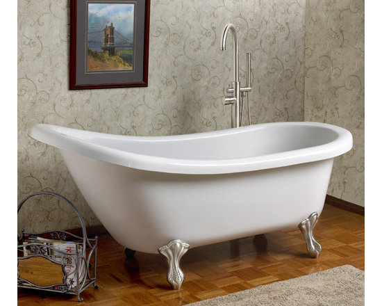 "Amazing Tubs - This elegant 59"" Slipper Tub is ideal for baths with limited space. It features an extended gentle slope backrest and sits on Victorian ball and claw feet made of solid brass. Available without holes for use with a freestanding tub filler or faucet mounted on the bathroom wall. 59"" Victorian Acrylic Slipper Clawfoot Tub"