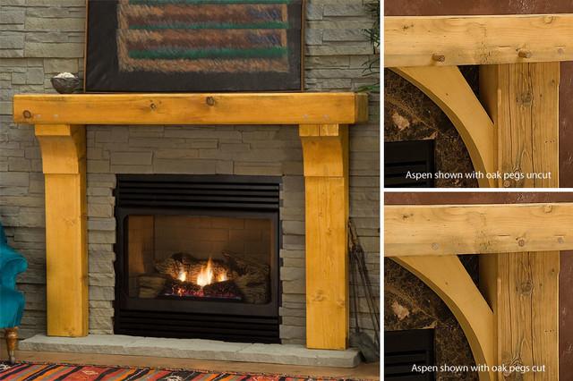 Gallatin Timber Wood Fireplace Mantel Rustic Indoor
