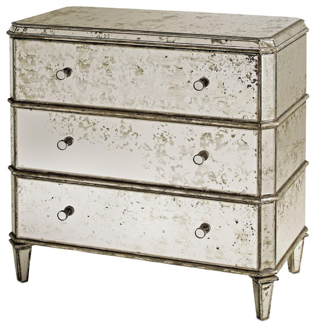 Currey & Co Antiqued Mirror Chest Of Drawers traditional-dressers