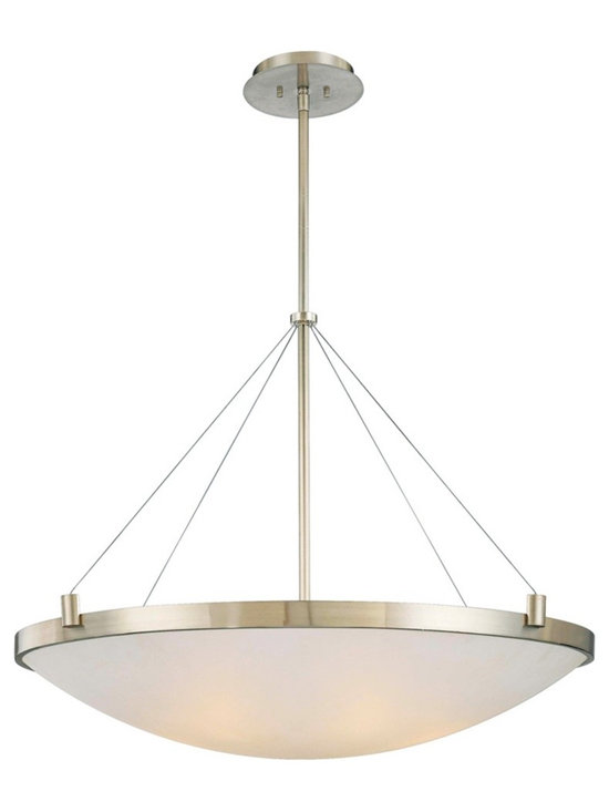 "George Kovacs - George Kovacs Frosted Glass 34 1/2"" Wide Pendant Light - Another sleek stylish contemporary large pendant light design from George Kovacs. The frame comes in a lustrous brushed nickel finish. The design features a slim stem and metal cables that suspend a bowl of beautiful white frosted glass. Brushed nickel finish. White frosted glass. Takes six 60 watt bulbs (not included). 34 1/2"" wide. 33"" high.  Brushed nickel finish.  From the George Kovacs pendant light collection.  White frosted glass.  Use this large chandelier in a foyer or dining room.  Takes six 60 watt bulbs (not included).  34 1/2"" wide.  33"" high."