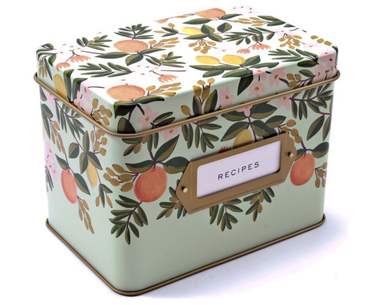 Rifle Tin Recipe Box Set, Floral -