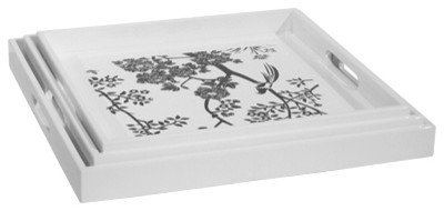 Toile Square Nesting Trays, Black & White contemporary-serving-dishes-and-platters