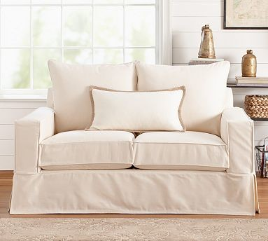 PB Comfort SquareLove Seat Knife-EdgeOrganic Cotton CanvasHoneySlipcover traditional-slipcovers-and-chair-covers