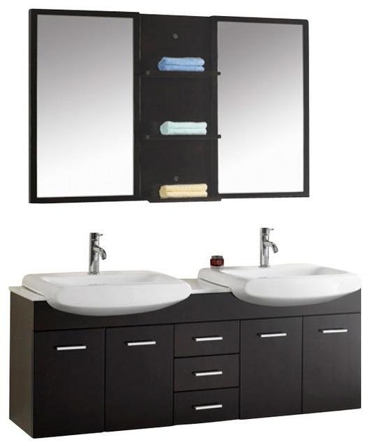 59 Inch Modern Double Sink Bathroom Vanity Modern Bathroom Vanities And S