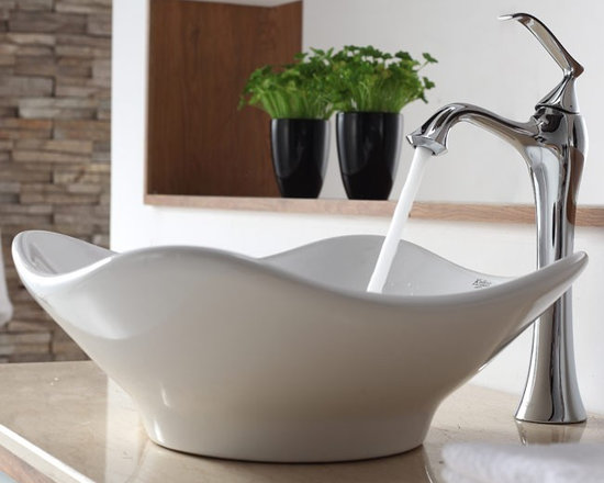 "Kraus C-KCV-135-15000CH White Tulip Ceramic Sink and Ventus Faucet - APPLY COUPON CODE ""EDHOUZ30"" AT CHECKOUT. JUST OUR WAY OF SAYING THANKS."